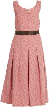 Bottega Veneta Butterfly-print cotton and linen-blend midi dress