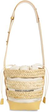 Paco Rabanne Cage Straw & Canvas Bucket Bag