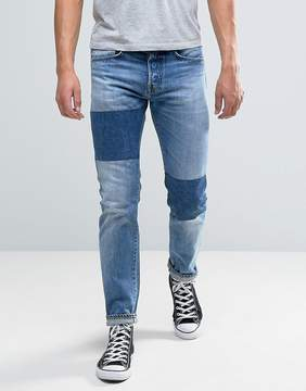 Edwin ED-80 Slim Tapered Jeans Light Sheild Wash Dye Patches