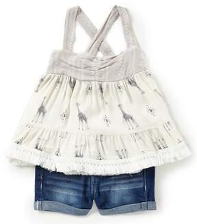 Jessica Simpson Baby Girls 12-24 Months Giraffe-Printed Tank Top & Denim Shorts Set