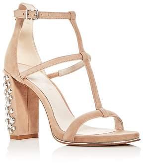 Kenneth Cole Women's Deandra Suede T-Strap High Block Heel Sandals