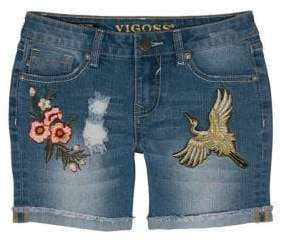 Vigoss Girls' Embroidered Jeans Shorts