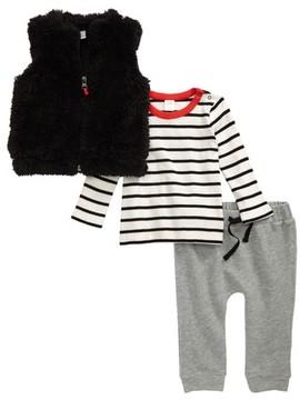 Nordstrom Infant Boy's Stripe Shirt, Faux Fur Vest & Sweatpants Set