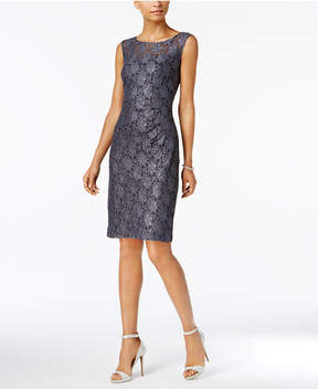 Connected Metallic Lace Sheath Dress