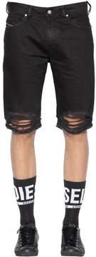 Diesel Slim Fit Ripped Cotton Denim Shorts