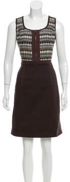 Andrew Gn Sheath Tweed-Accented Dress