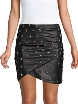 Alice + Olivia Fidela Stud Drape Leather Mini Skirt