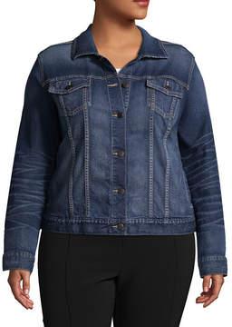 Boutique + + Distressed Denim Jacket - Plus