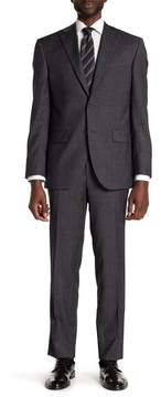 David Donahue Charcoal Sharkskin Two Button Notch Lapel Wool Classic Fit Suit
