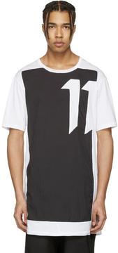 11 By Boris Bidjan Saberi White and Black Block Cut T-Shirt
