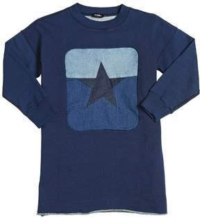 Diesel Star Patch Cotton Sweatshirt Dress