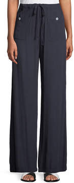 Allen Allen Button-Pocket Wide-Leg Pants