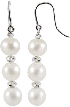 Brilliance+ FINE JEWELRY Cultured Freshwater Pearl & Brilliance Bead Sterling Silver Triple-Drop Earrings