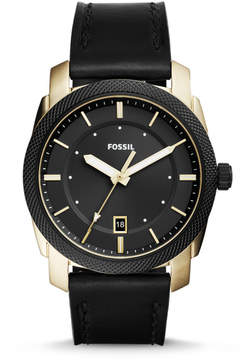 Fossil Machine Three-Hand Date Black Leather Watch