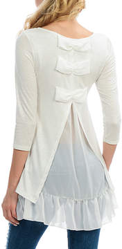 Celeste Ivory Bow-Back Ruffle-Hem Scoop Neck Top - Women