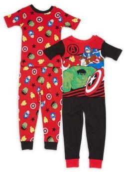 AME Sleepwear Little Boy's & Boy's Four-Piece Cotton Pajama Set