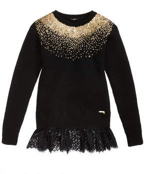 GUESS Sequin Lace-Hem Sweater Big Girls (7-16)