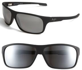 Maui Jim Men's 'Island Time - Polarizedplus' Rectangle Wrap 64Mm Sunglasses - Matte Black/ Neutral Grey