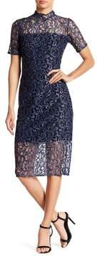 Alexia Admor Illusion Mock Neck Lace Dress