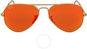 Ray-Ban Aviator Matte Gold Metal Brown Mirror Orange Non-Polarized Lenses 55mm Sunglasses RB3025-55-112-69
