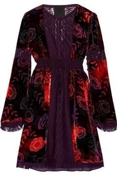 Anna Sui Lace-Paneled Printed Velvet Mini Dress