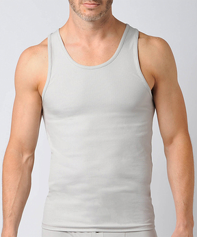 Naked Gray Ribbed Pima Cotton Fitted Tank - Men's Regular