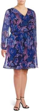 Alexia Admor Women's Floral-Print Chiffon Dress - Blue Floral, Size 1x (14-16)