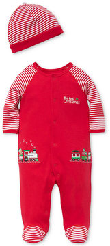 Little Me 2-Pc. Cotton Striped Hat & Train Footed Coverall Set, Baby Boys (0-24 Months)