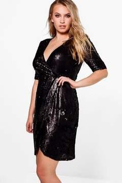 boohoo Plus Grace Wrap 3/4 Sleeve Sequin Dress