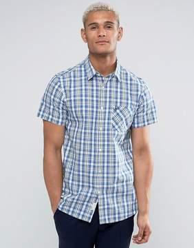 Jack Wills Stableton Regular Fit Short Sleeve Check Shirt In Cornflower