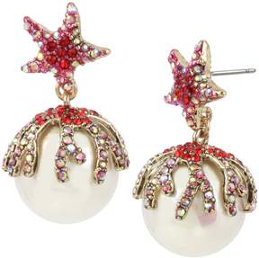Betsey Johnson CRABBY COUTURE PEARL DROP EARRINGS