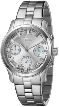 JBW Alessandra Silver-tone Diamond Chronograph Dial Steel Bracelet Ladies Watch
