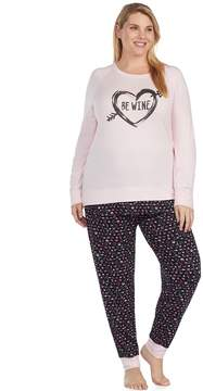 Cuddl Duds Plus Size Simply Sweet Long Sleeve Top & Jogger Pants Pajama Set