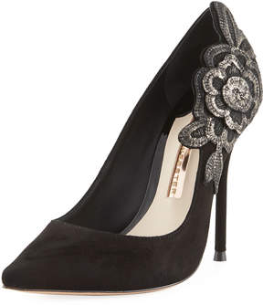Sophia Webster Suede Flower-Embroidered Pump