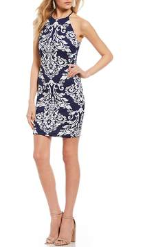 B. Darlin Scroll-Pattern Sheath Dress
