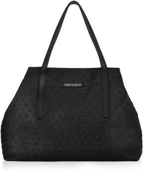 Jimmy Choo PIMLICO Black Grainy Leather Tote Bag with Embossed Stars