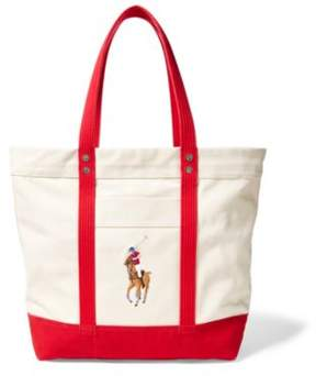 Ralph Lauren Canvas Big Pony Tote Natural/Red One Size