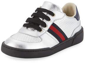 Gucci Metallic Leather Sneaker, Toddler