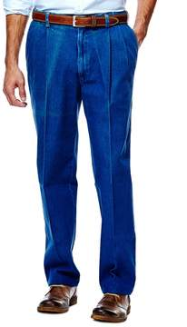 Haggar Men's Work to Weekend Classic-Fit Pleated Denim Pants