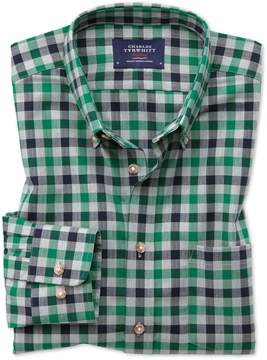 Charles Tyrwhitt Slim Fit Button-Down Non-Iron Twill Green and Navy Gingham Cotton Casual Shirt Single Cuff Size XS