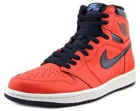 Jordan Retro 1 High Men Round Toe Leather Red Sneakers.