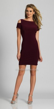 Dave and Johnny Fitted Cold Shoulder Short Sleeve Homecoming Dress