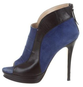 Jerome C. Rousseau Suede Peep-Toe Ankle Boots