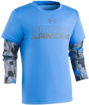 Under Armour Boys 4-7 Camo Mock-Layer Logo Tee