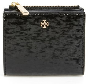 Tory Burch Women's Mini Robinson Wallet Patent Leather Bifold Wallet - Black - BLACK - STYLE