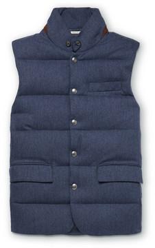 Ralph Lauren Purple Label Lloyd Suede-Trimmed Quilted Herringbone Wool Down Gilet