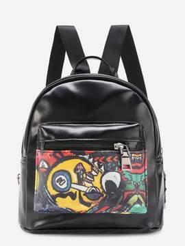 Shein Graffiti Print PU Backpack