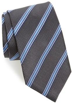 David Donahue Men's Stripe Silk Tie