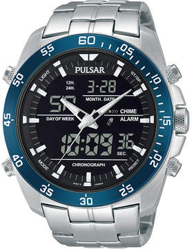 Pulsar Mens Analog/Digital Stainless Steel Chronograph Watch PW6013