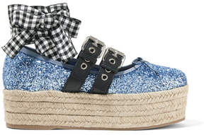 Miu Miu Leather-trimmed Glittered Canvas Platform Espadrilles - Blue